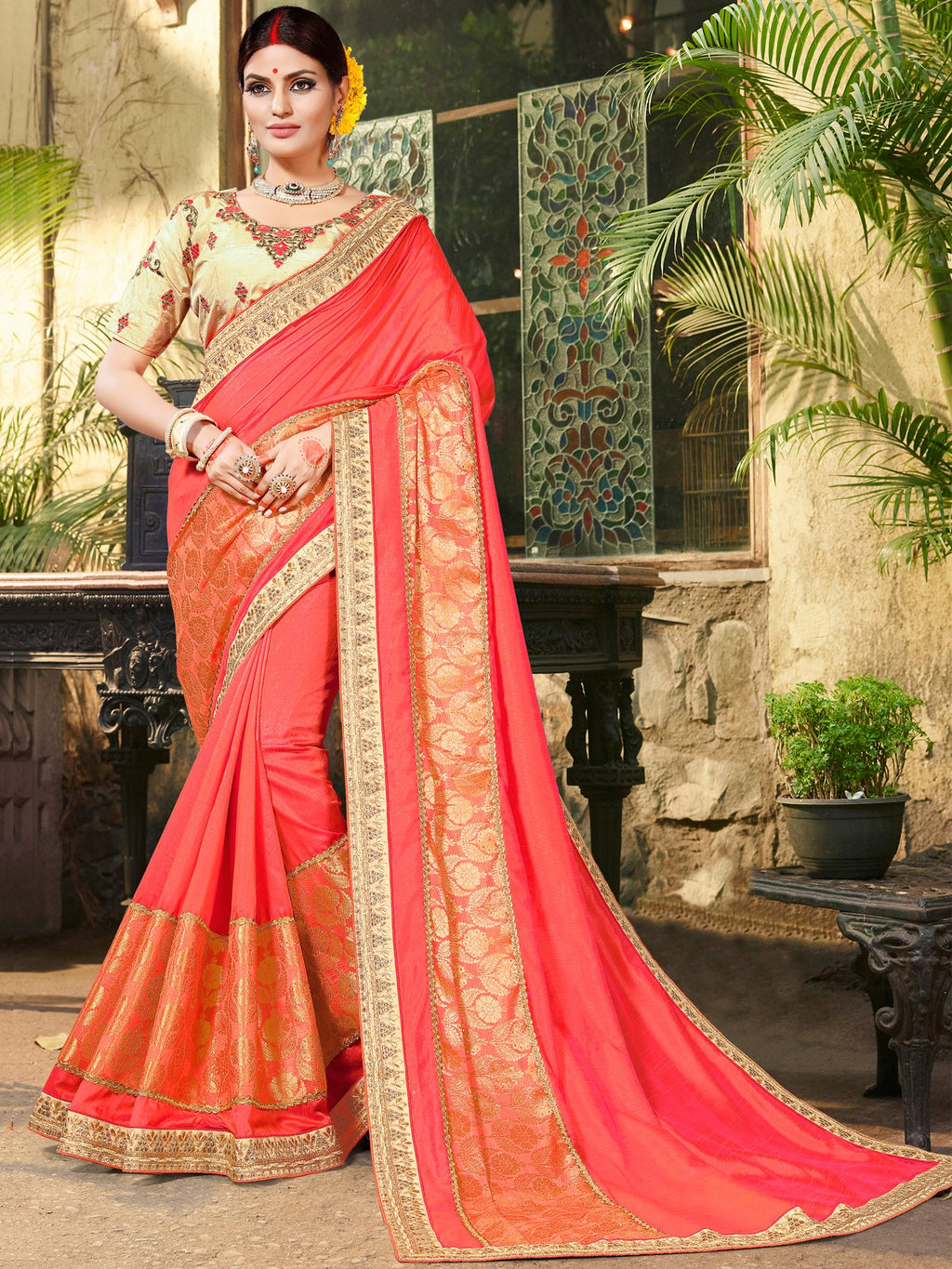 Pure Jaquard Embroidered  Red Saree