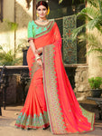 Pure Georgette Embroidered  Red Saree