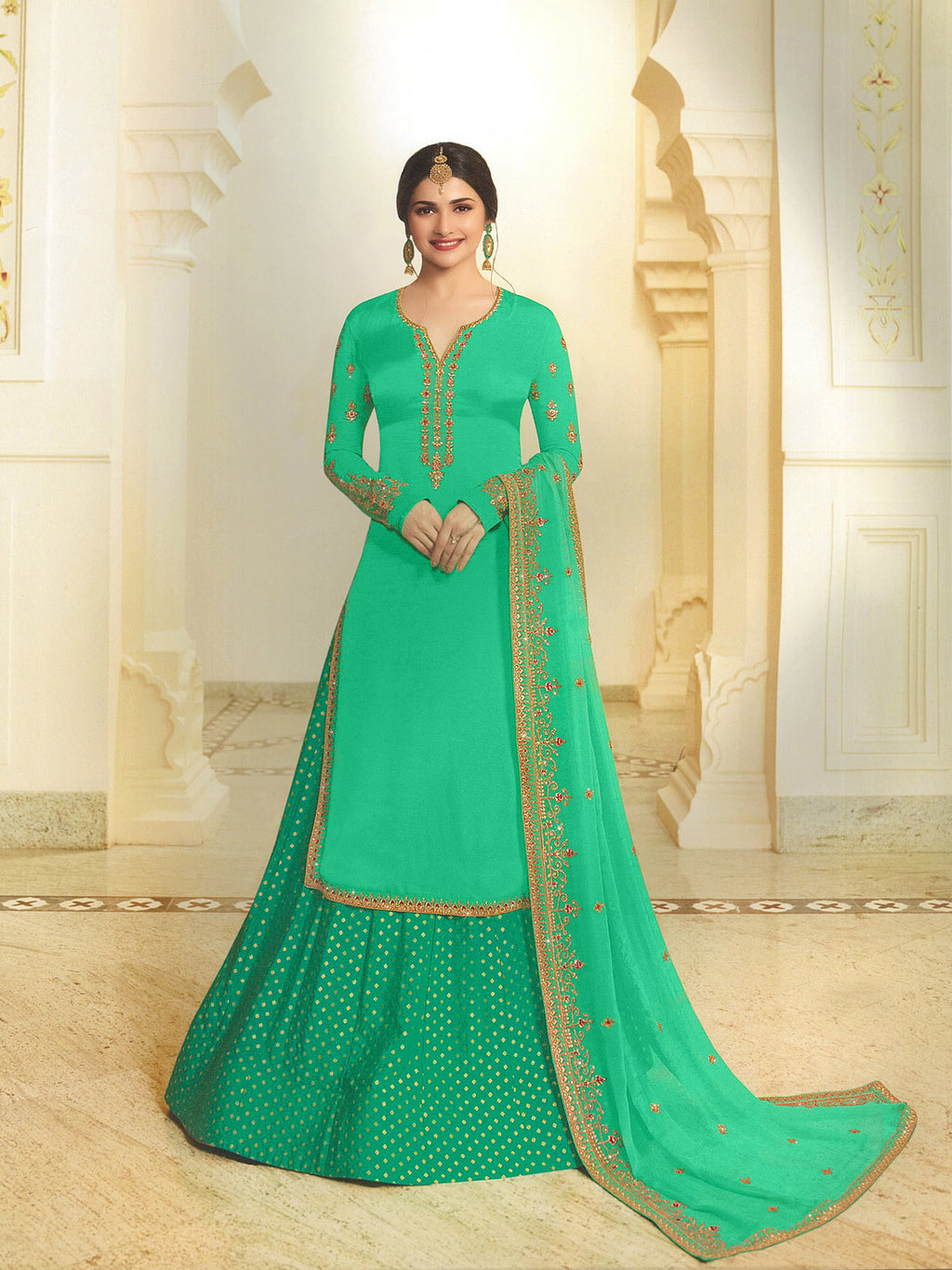 Georgette Satin Salwar Suit  with Sia Green Dupatta