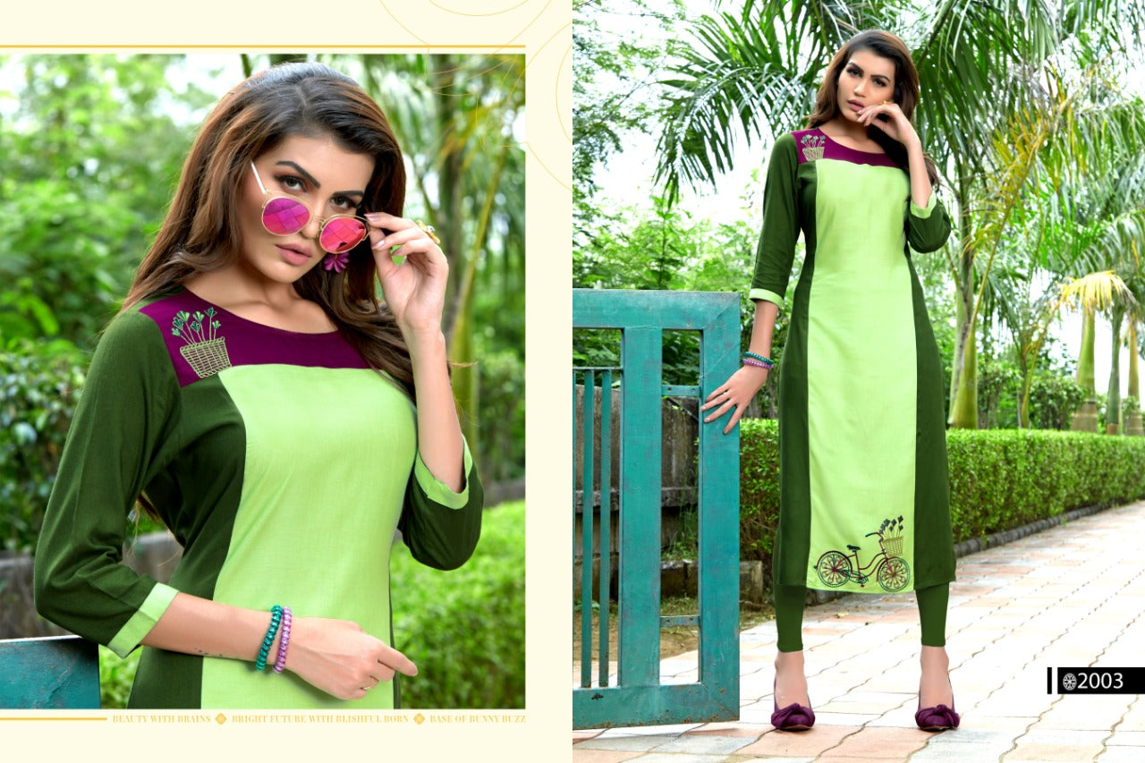 Multicolor Rayon Embroidered Women Kurti