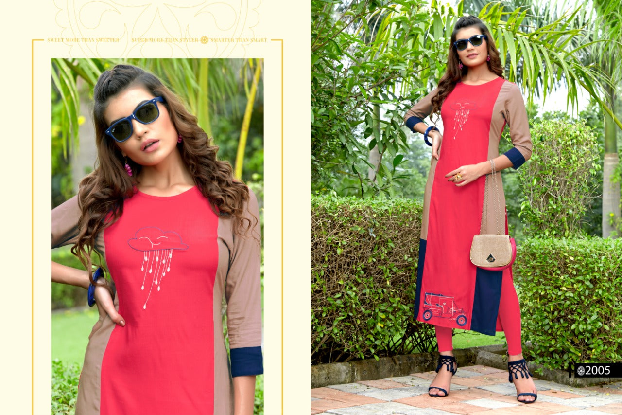 Pink Rayon Embroidered Women Kurti