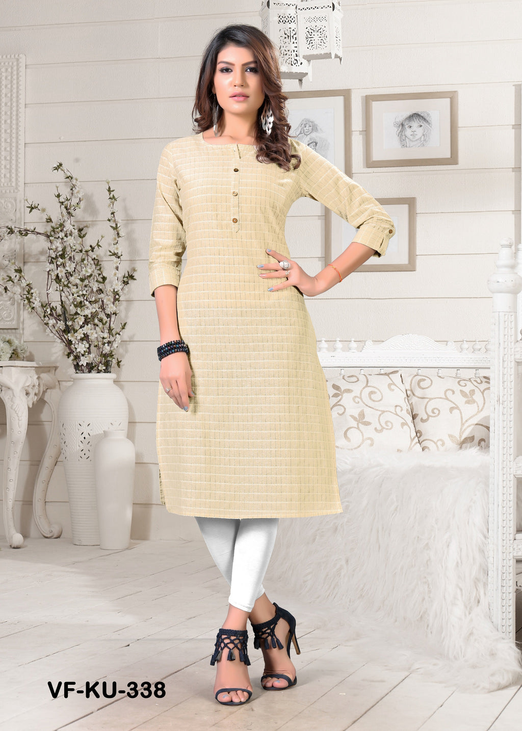 Beige Cotton  Solid Women Kurti