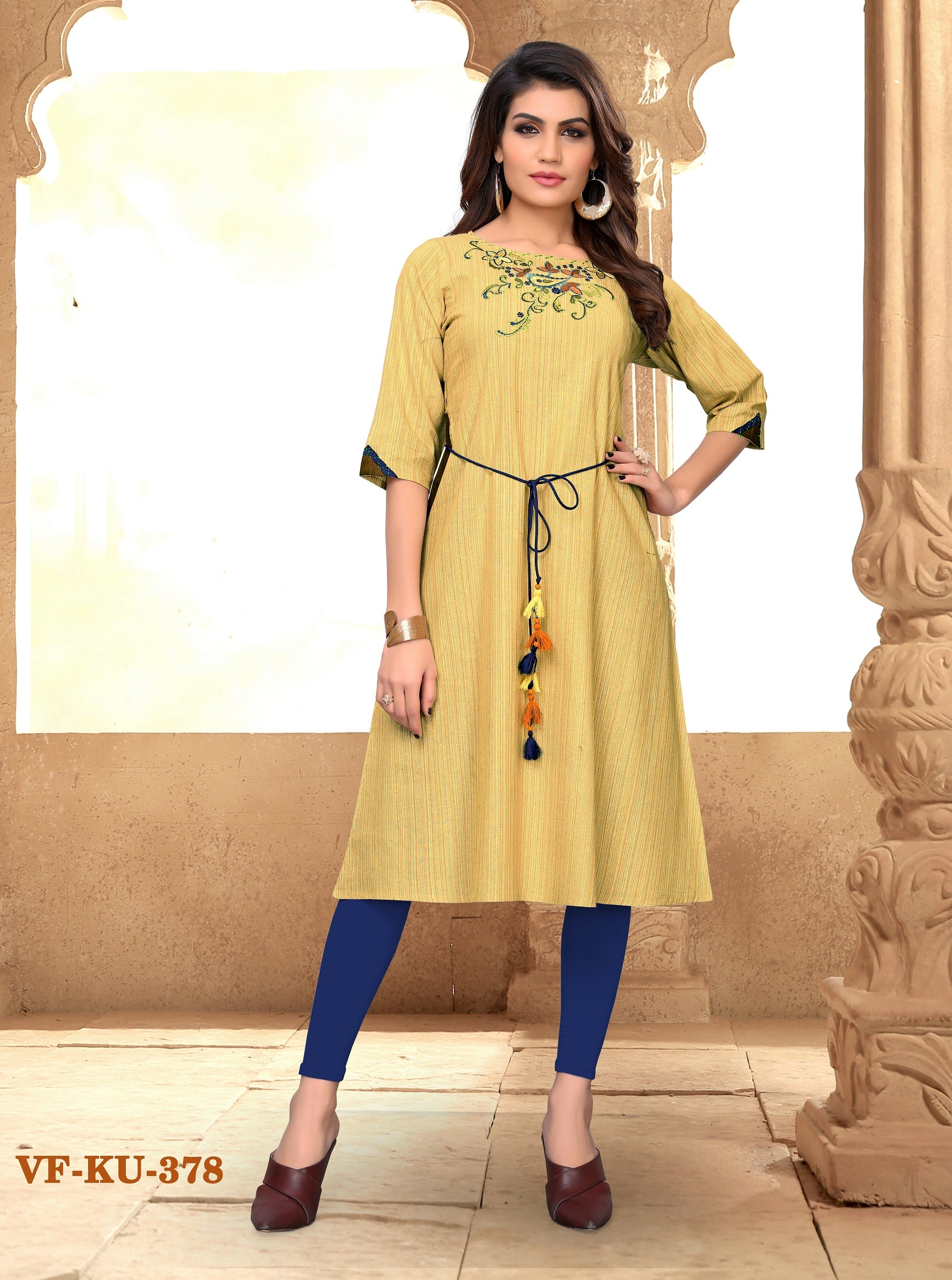 Light Yellow cotton Embroidered Women Kurti