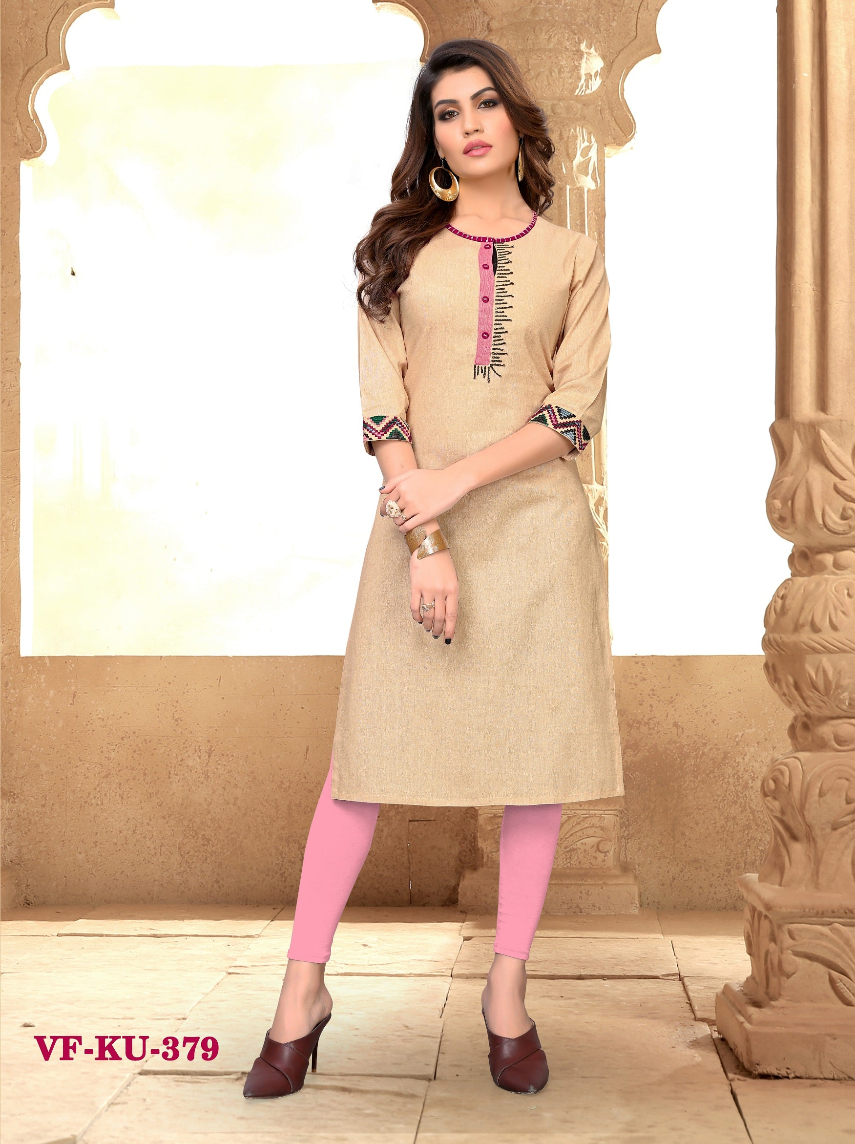 Cream cotton Embroidered Women Kurti