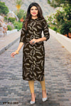 Dark Brown Rayon Printeded Women Kurti