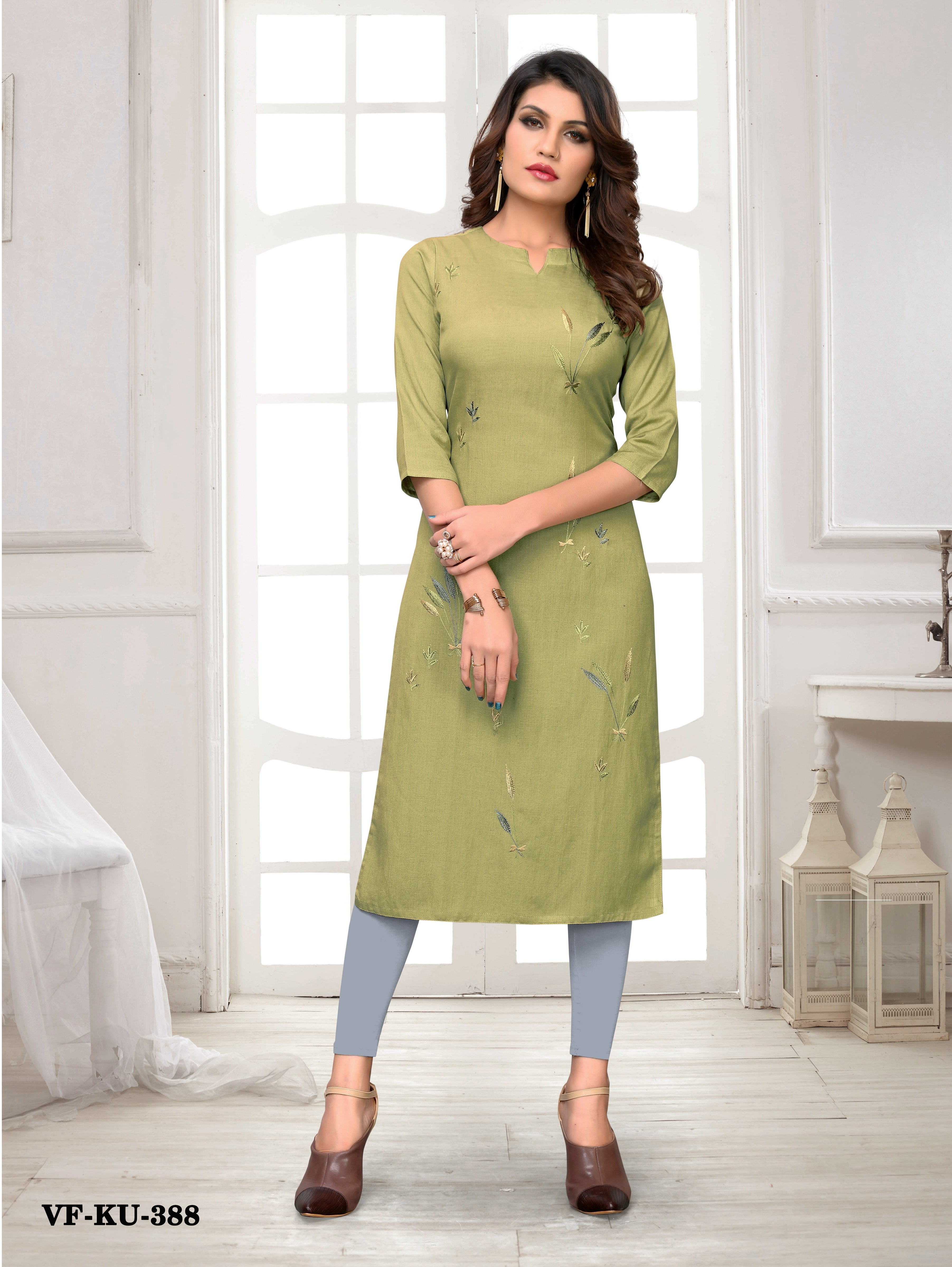 Pista Flex Rayon Embroidered Women Kurti