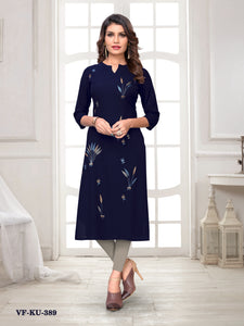 Blue Flex Rayon Embroidered Women Kurti