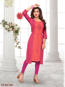 Multicolor Rayon Printeded/Embroidered Women Kurti