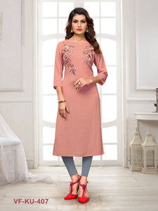 Peach Solid/Embroidered Women Kurti