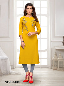 Yellow Solid/Embroidered Women Kurti