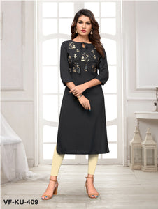 Black Solid/Embroidered Women Kurti
