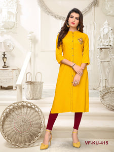 Yellow Hand Work Women Kurti