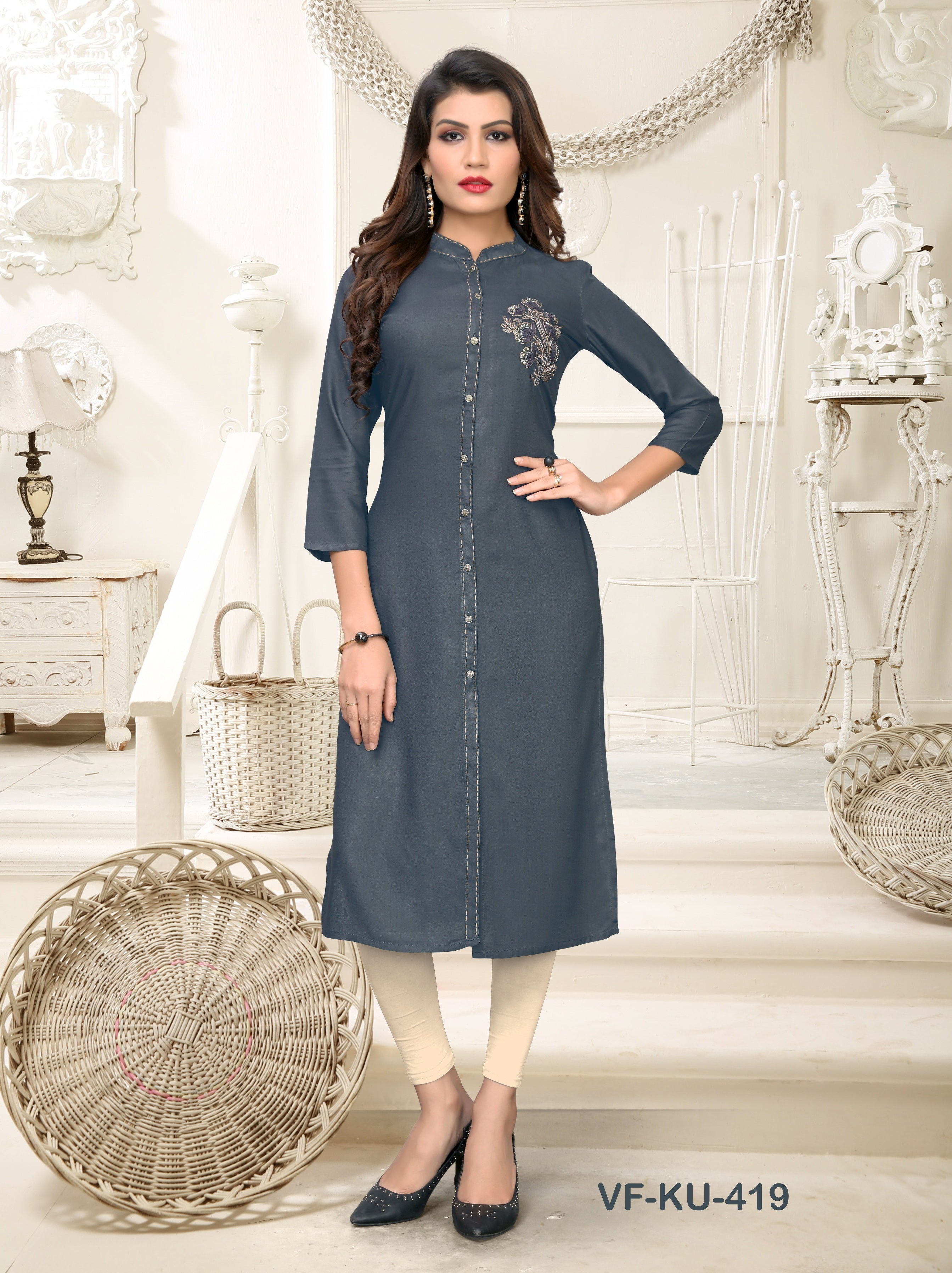 Grey Hand Work Women Kurti