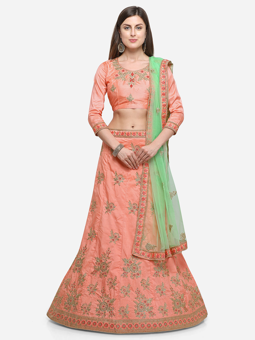 Peach color silk satin embroidered semi-stitched lehenga choli