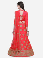 Pink color silk satin embroidered semi-stitched lehenga choli