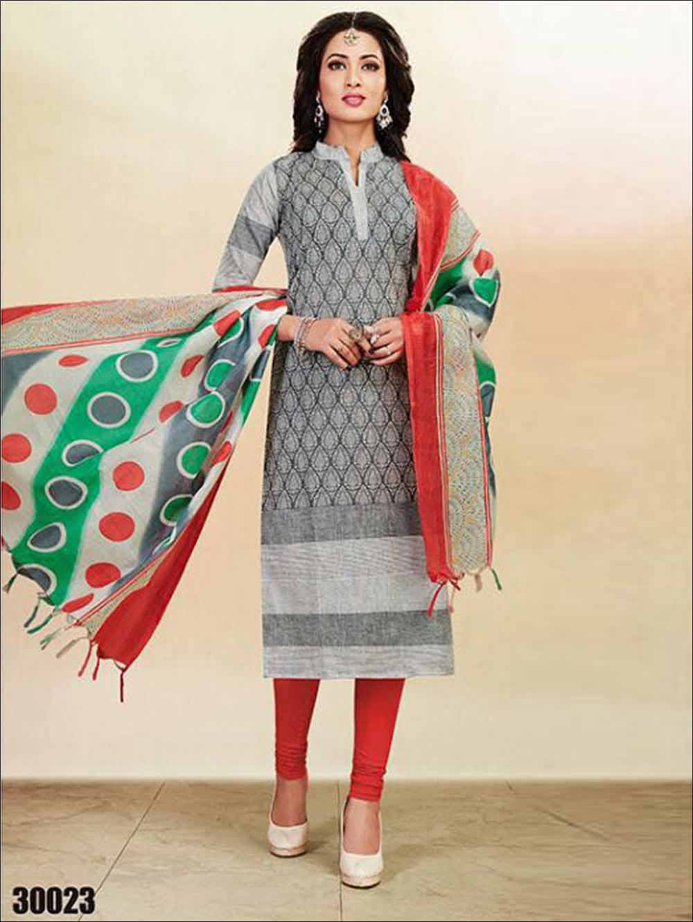 Grey And Multicolour Summer Wear Straight Suit
