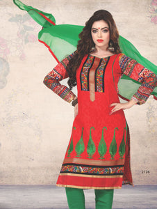 Red and Green Printed Cotton Daily Wear Straight Suit