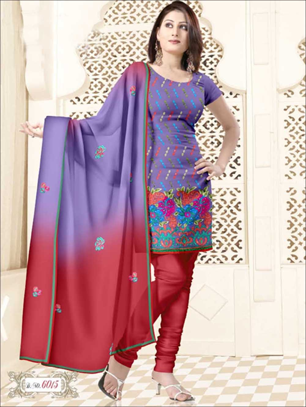 Lavender and Red Salwar Suit