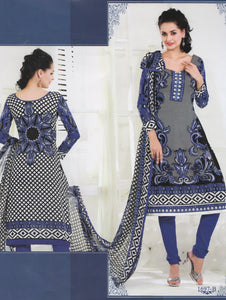 Cream and Black Cotton Salwar Suit