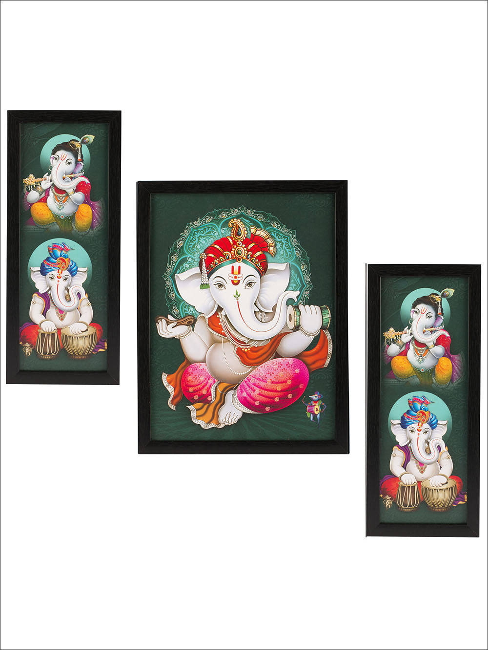 3 Pc Set Of Ganesha Paintings Without Glass