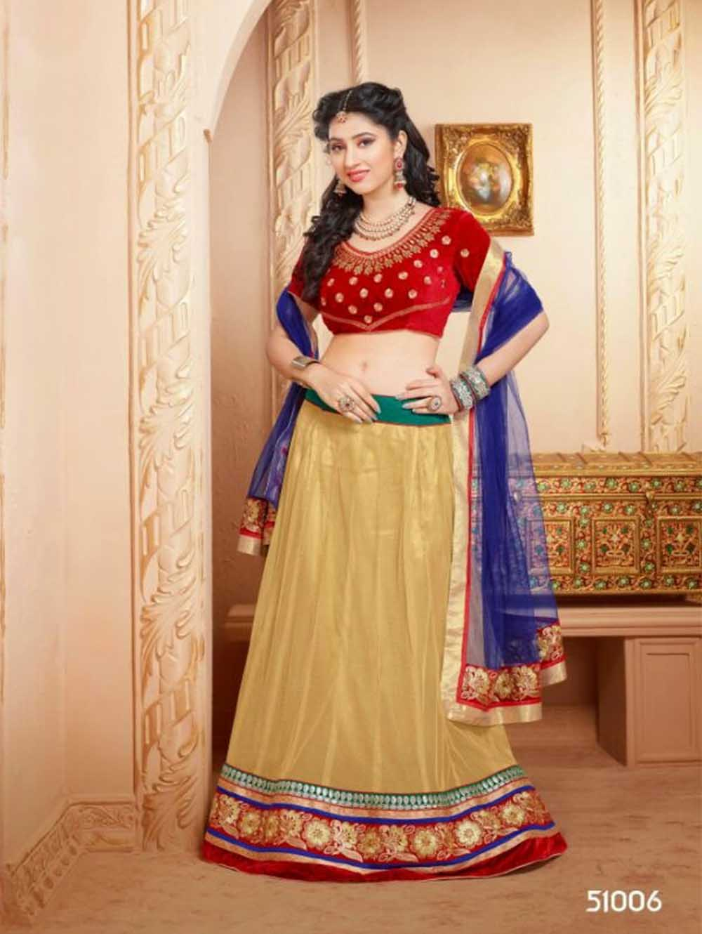 Red and Beige Wedding Wear Velvet Lehenga Choli