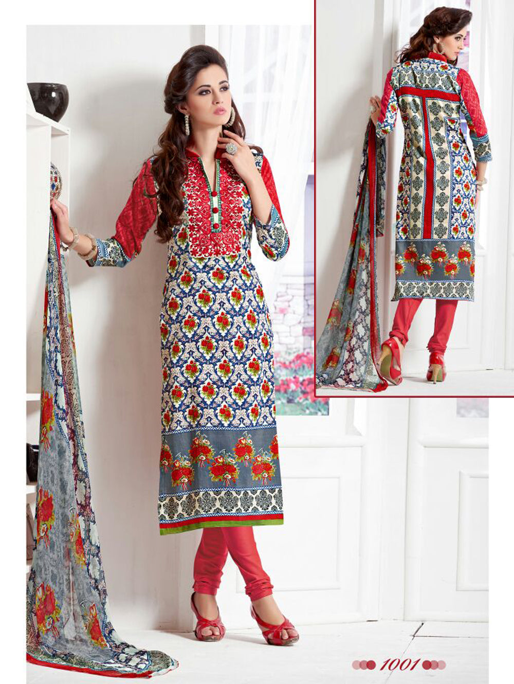 Multicolour and Red Daily Wear Satin Cotton Straight Suit