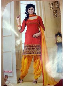 Red and Yellow Daily Wear Patiala Suit