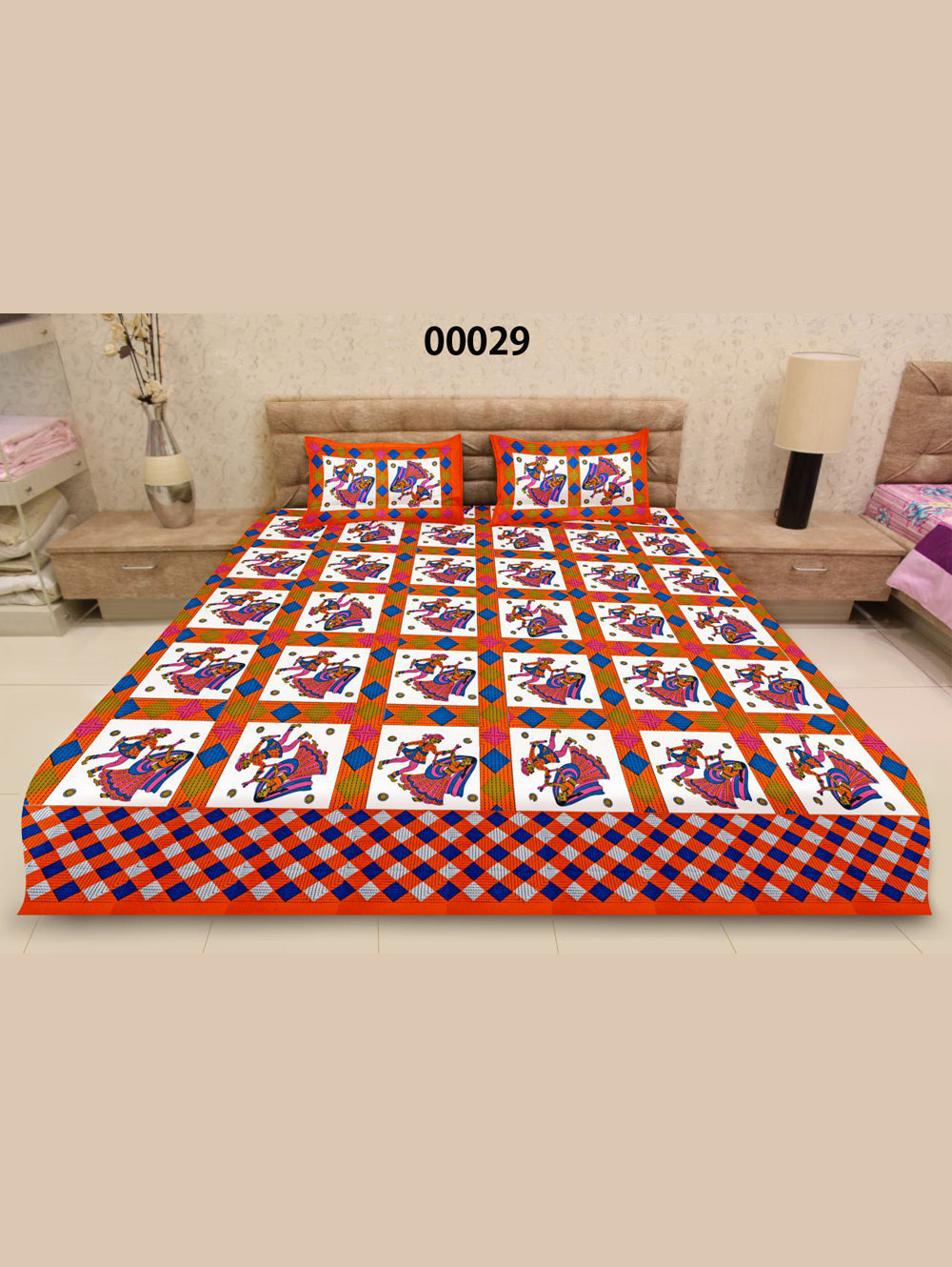 00029DarkOrange and Multicolour Traditional Cotton Queen Size Bedsheet With 2 Pillow Covers