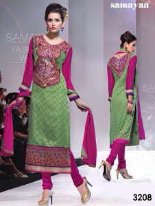 Green and Magenta Straight Suit
