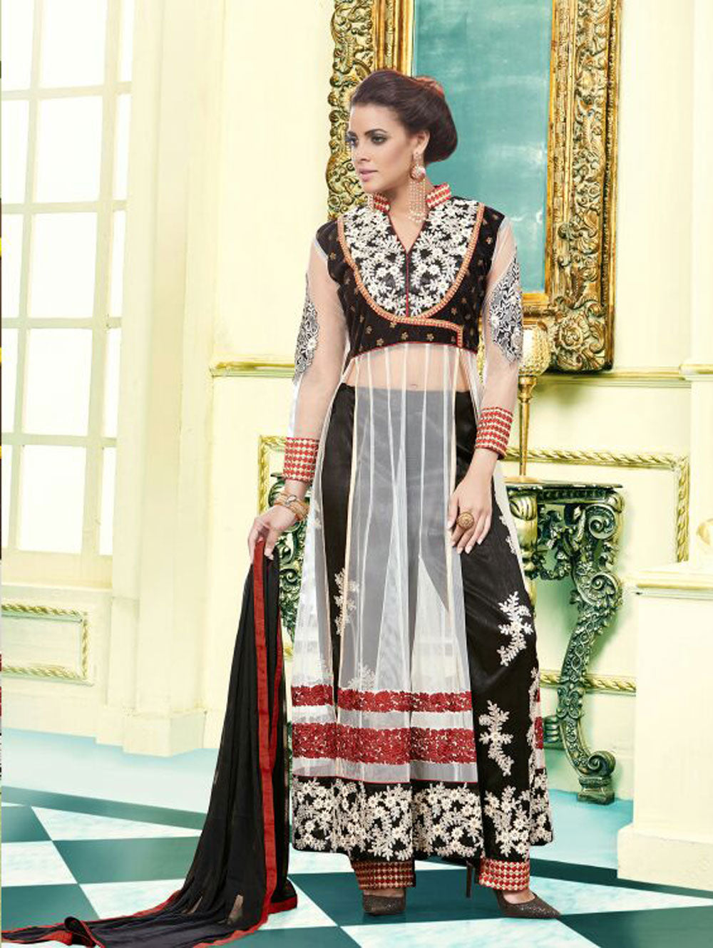 Designer Black and White Net  Party Wear Semi-stitched Designer Suit