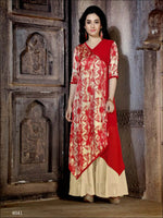 Red and Ivory Designer Stitched Long Kurti