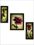 3 Pc Set Of Floral Paintings Without Glass