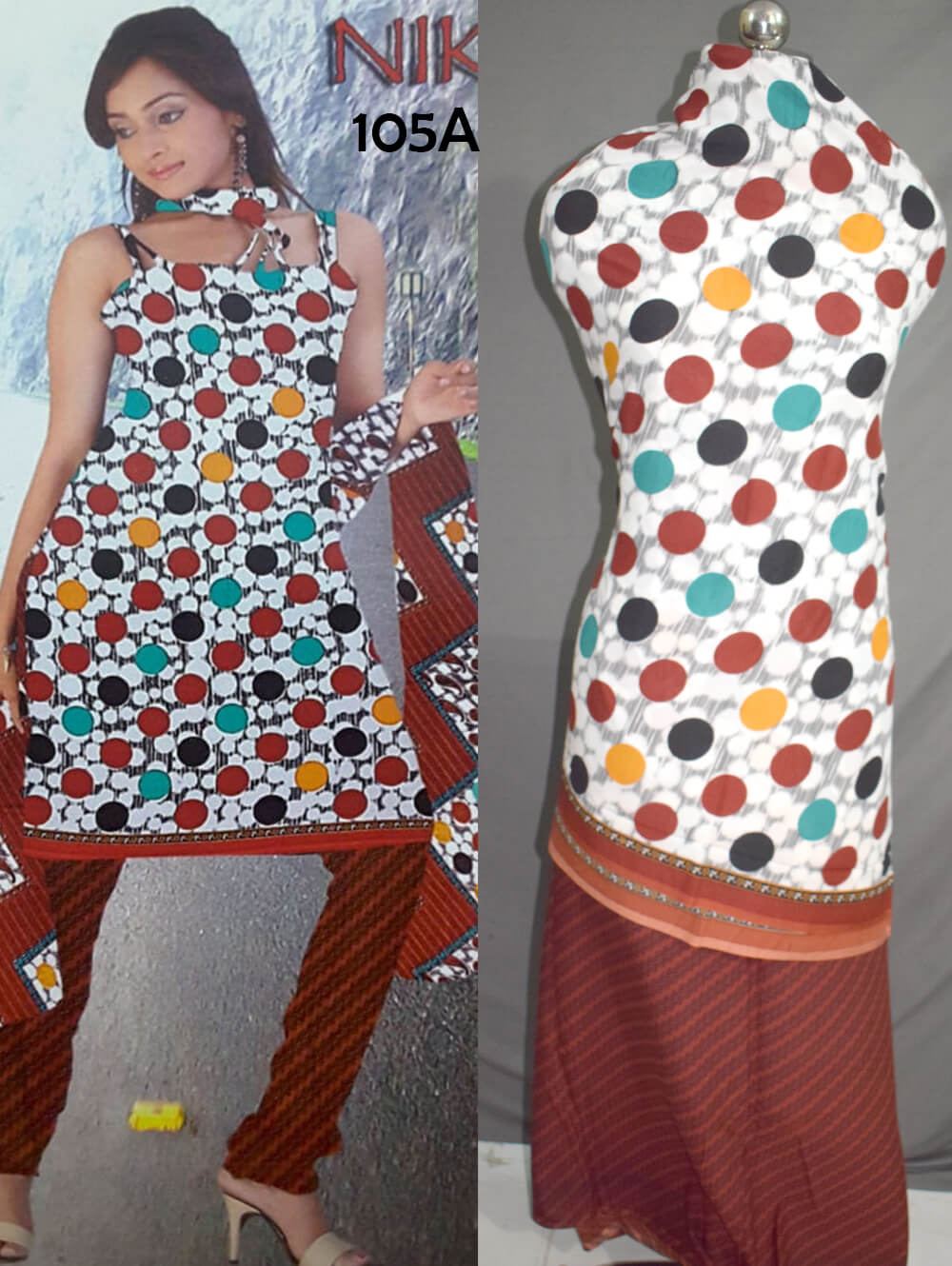 White and Red Printed Salwar Suit