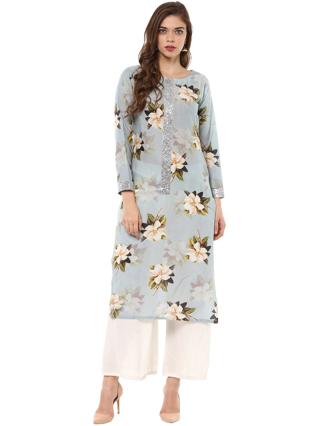 Ahalyaa Floral Cotton Partywear Straight Kurta with Silver Border