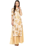 Ahalyaa Cream and Gold Straight Partywear Cotton Kurta