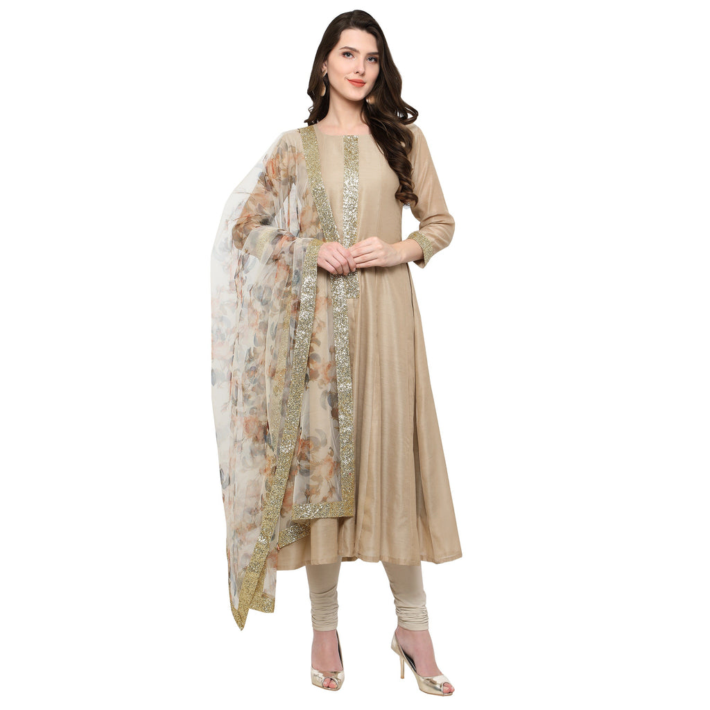 Ahalyaa Beige Anarakali and Digital Printed Net Dupatta Set