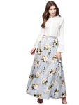 Ahalyaa Powder Blue Floral Cotton Skirt with White Top