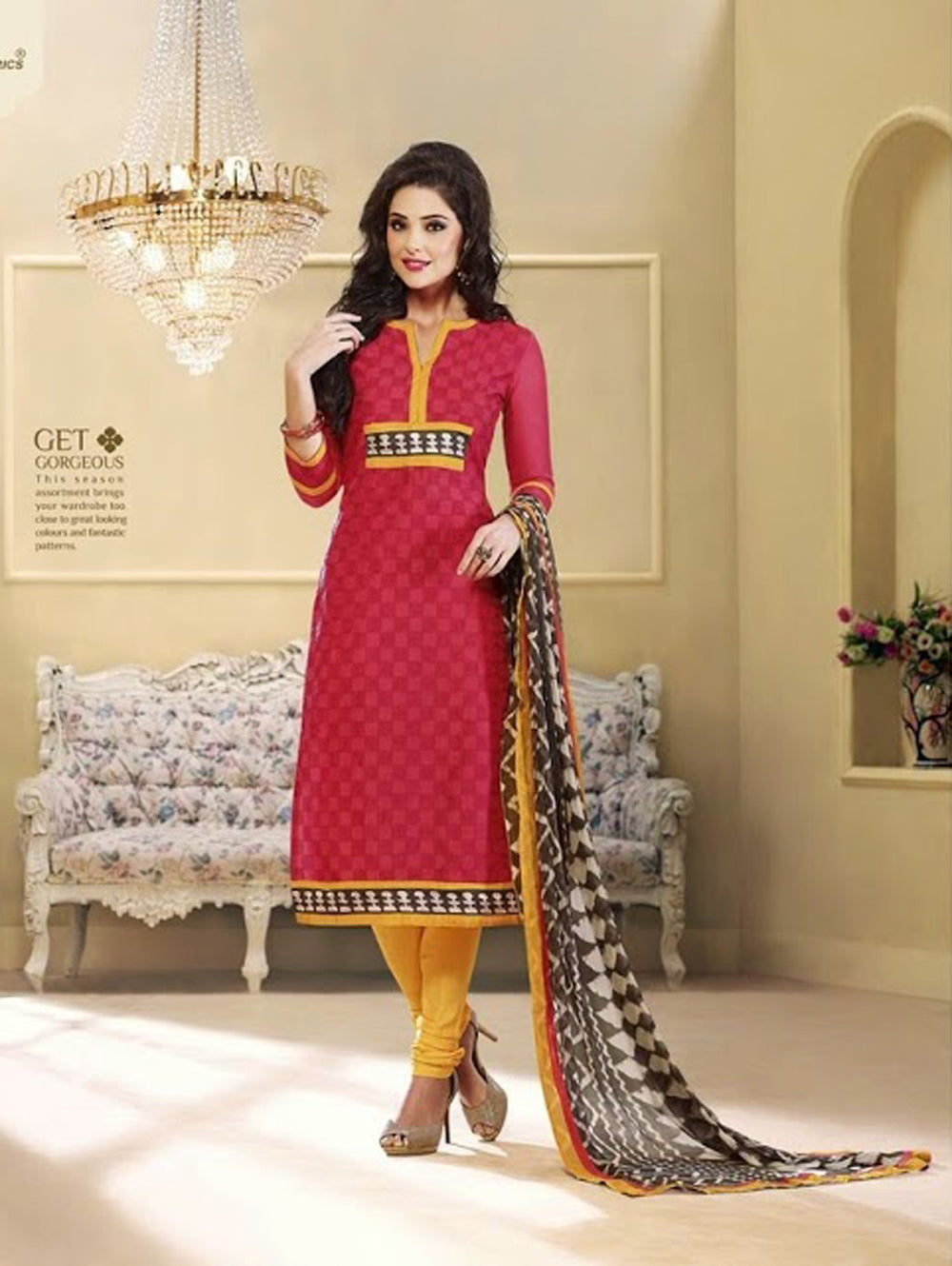 Red and Yellow Chudidar Suit