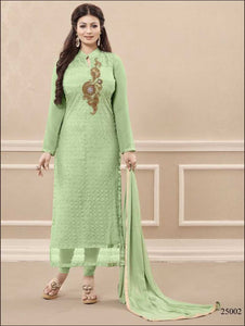 Dull Green and Golden Georgette Party Wear Straight Suit