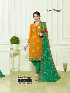 Dark Orange and Green Designer Straight Suit