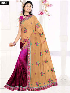 Khaki and Magenta Designer Saree