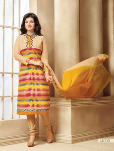 Multicolour Designer Traditional Party Wear Un-stitched Straight Suit Dress Material