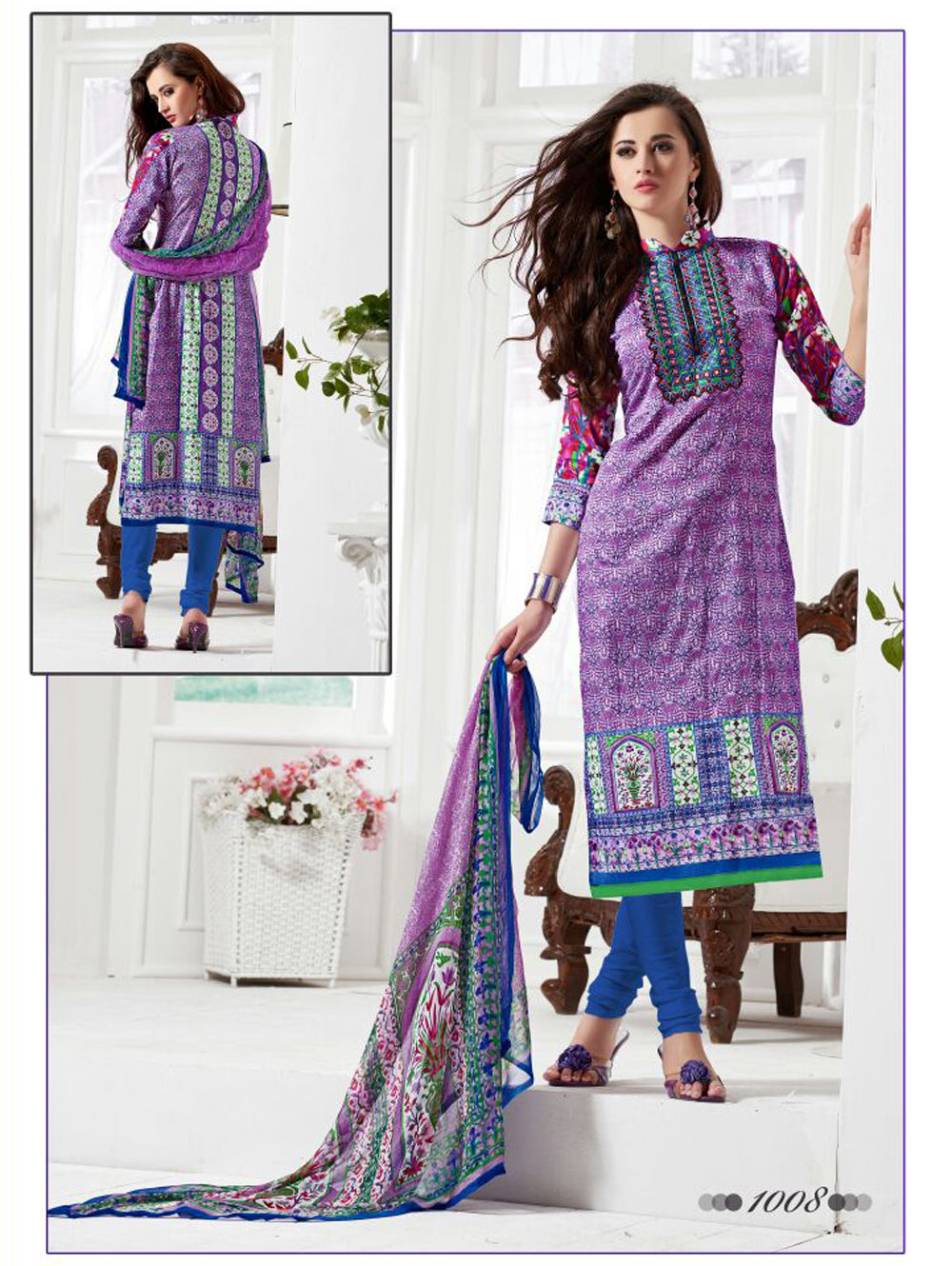 Purple and Royal Blue Daily Wear Satin Cotton Straight Suit