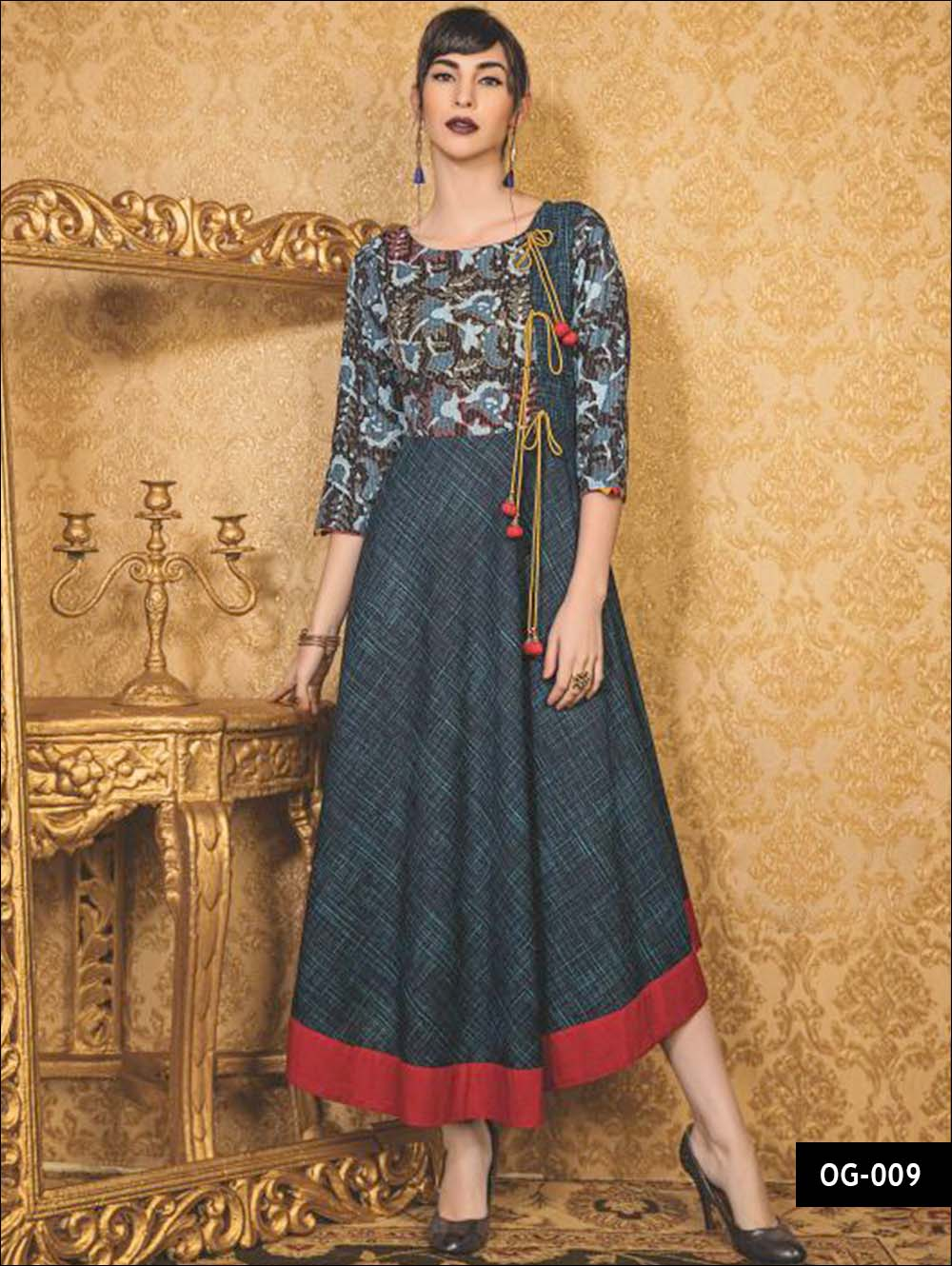 Peacock Green and Black Ethnic Style Kurti