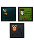 Indianara 3 Piece Set Of Framed Wall Hanging Kids Room Decor Love Art Prints Without Glass