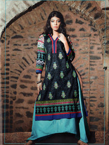 Black and Multicolour Cotton Lawn Daily Wear Kurti