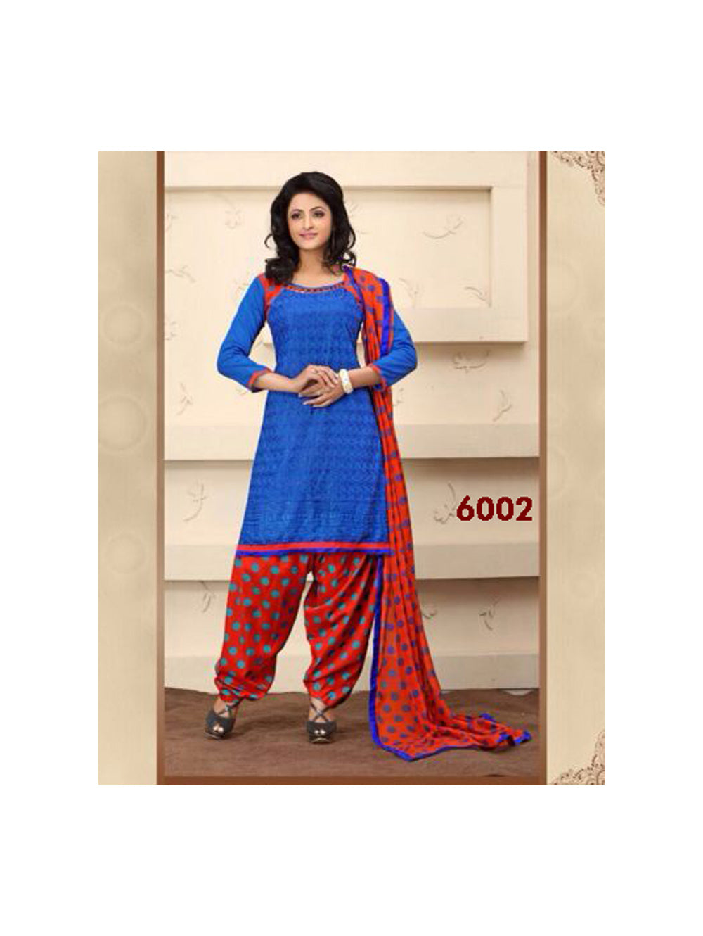 Royal Blue and Red Party Wear Chanderi Cotton Patiyala Suit