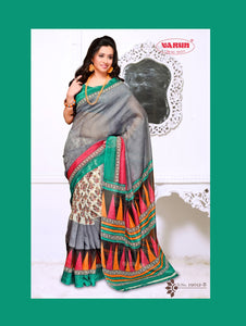 Sea Green and Slate Blue Daily Wear Cotton Based Saree