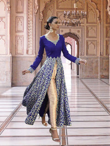 Blue Exclusive Designer Party Wear Semi-stitched Designer Suit