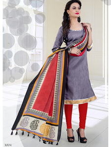 Grey and Red Bhagalpuri Daily Wear Chudidar Suit